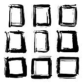 Frames and text boxes, grunge textured hand drawn elements set, vector illustration