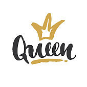 Queen lettering quote with Hand drawn crown, calligraphic sign. Vector illustration
