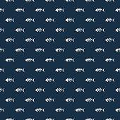 Fish bones Seamless pattern. Fish skeleton doodle, Hand drawn Cartoon Vector illustration