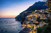 Positano town at sunset - Italy famous destination in Amalfi Coast