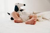 Selective focus on a newborn baby's feet