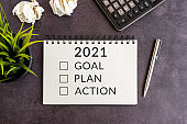 2021 Goal Plan Action text on note pad
