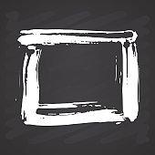 Frame or text box, grunge textured hand drawn elements set, vector illustration on chalkboard background