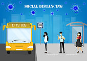 A vector design concept of Social Distancing during Coronavirus outbreak at the bus stop_poeple wait for the city bus