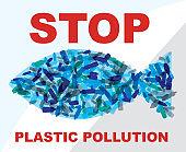 Stop Plastic Pollution Environmental Problem Vector Illustration
