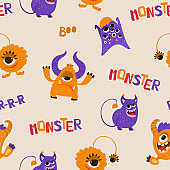 Seamless pattern with funny monsters in cartoon style. Children's background with cute characters for fabric design, Wallpaper, wrapping paper. Vector