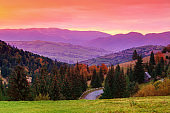 Colorful sunset in mountains