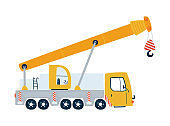 Yellow truck crane isolated on a white background in flat style. Icons kids cars for design of children's rooms, clothing, textiles. Vector illustration
