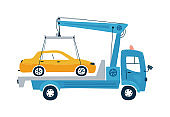 Service car tow truck isolated on a white background in flat style. Icons kids cars for design of children's rooms, clothing, textiles. Vector illustration