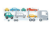 Car transporter isolated on a white background in flat style. Icons kids cars for design of children's rooms, clothing, textiles. Vector illustration