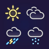Weather forecast neon light icons set on a blue background. Meteorology.