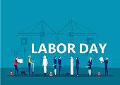 Labor day employment occupation national celebration,  city construction background illustration