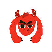 Funny red monster in cartoon style. Children's illustration with cute characters isolated on white background. Vector