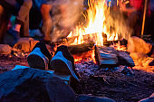 closeup camp fire at the night. Outdoor adventure