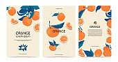 Set frame of oranges on branches with copy space in flat style. Template with citrus fruits for your brochure design, banner, labels. Vector stock illustration