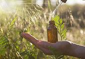 Alternative Medicine - Bottles & Hand. Copy speca.
