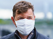 Handsome man wearing protective face mask outdoor