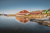 August 18 2019, Qeqertarsuaq, Greenland. The supermarket at the harbour. Qeqertarsuaq is a port and town located on the south coast of Disko Island.