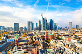 Frankfurt am Main financial business district. Panoramic aerial view cityscape skyline with skyscrapers in Frankfurt, Hessen. Germany
