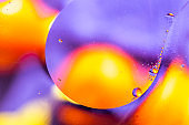 Biology, physics or chemistry abstract background. Space or planets universe cosmic pattern. Abstract molecule atom structure. Water bubbles. Macro shot of air or molecule.