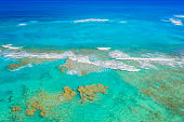 Ocean water surface aerial drone view in Dominican Republic. Vacation background.