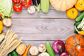 Raw organic fresh vegetables on wooden table. Fresh garden vegetarian food. Autumn seasonal image of farmer table with mushrooms, rye, cucumbers, pumpkins, onion, tomatoes and other. Free space.
