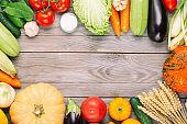 Fresh vegetables on wooden table. Fresh garden vegetarian food. Autumn seasonal image of farmer table with mushrooms, rye, cucumbers, tomatoes, cabbage, pumpkins, salt and eggplant.