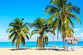 Sun loungers under straw umbrellas on the sandy beach with palms near ocean and sky. Vacation background. Idyllic beach landscape. Varadero, Cuba