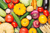Organic fresh vegetables food background. Autumn vegetables and Thanksgiving day theme. Pumpkin, onions, carrots, tomatoes, mushrooms, cucumbers and other.