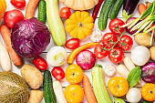 Assortment of fresh vegetables as a background. Seasonal close up farmer table with vegetables. Pumpkins, tomatoes, cabbage, carrots, onion, cucumber, melon, eggplant, potatoes and other