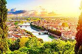 Beautiful sunset aerial view of Verona. Veneto region in italy. Verona sunset cityscape.