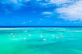 Aerial view of tropical caribbean sea with yachts and boats on blue turquoise ocean Dominican Republic. Beautiful blue sky