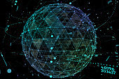 Point and curve constructed the sphere wireframe, technological sense abstract illustration. Global network