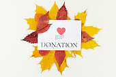 autumn background with donation inscription and leaves