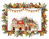 Rectangle christmas frame for card or invitation with houses, poinsettia, lollipop, candy, berry, trees, branches, snow.