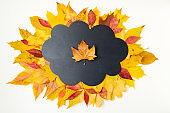 autumn flat lay with cloud shape blackboard and leaves