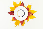 autumn background with saucer and leaves