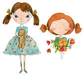 Set of two summer and spring girls with flowers and rabbit.