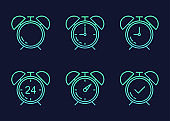 Time icon set in flat style. Agenda clock alarm gradient colors on dark blue background. Vector