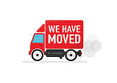 We have moved red car on white background. Delivery and shipping of the product to the client. Vector illustration.