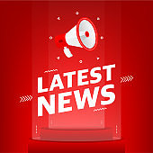 Megaphone with latest news text in the air. Banner for business, marketing and advertising on red background. Vector