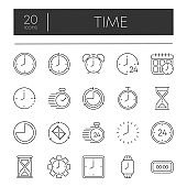 Simple big set of time related vector gray line icons. Contains such Icons as timer, speed, alarm, restore, time management, calendar and more. Top zone for title set. Vector illustration.