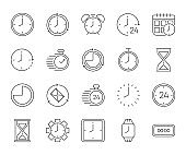 Simple big set of time related vector gray line icons. Contains such Icons as timer, speed, alarm, restore, time management, calendar and more. Vector illustration.