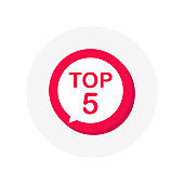 Top 5 red sign. Button Design in Flat Style on white background. Vector illustration.