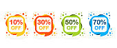 Sale discount icons. Special offer price signs of different colors. 10, 30, 50 and 70 percent off reduction symbols. Speech bubbles or chat symbols on white background. Vector illustration.