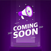 Megaphone with coming soon text in the air. Banner for business, marketing and advertising on purple background. Vector