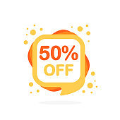 Sale big discount icons. Special offer price signs of yellow and orange colors. Black Friday. 50 percent OFF reduction symbols. Speech bubble or chat symbol on white background. Vector illustration.