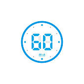 60 minute. Timer, clock, stopwatch isolated blue icons on white background. Vector