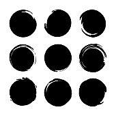 Set circles textured hand drawn abstract of black color isolated on white background. Vector