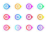 Collection 3D arrows bullet point triangle flags isolated on white background. Colorful gradient markers. Number from 1 to 12. Vector